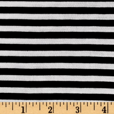 "Polyester Spandex Jersey Knit 1/4"" Stripe Black/Off White"