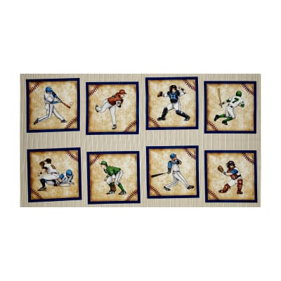 "QT Fabrics Grand Slam Baseball Player Picture 24"" Patches Panel Cream"