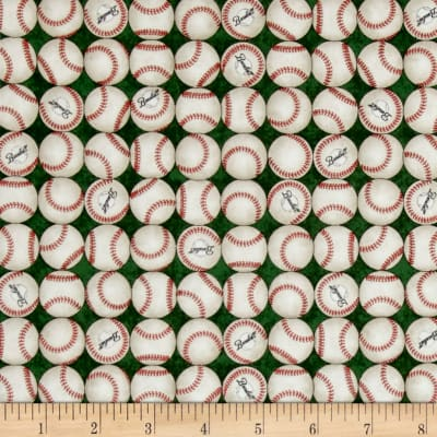 QT Fabrics Grand Slam Baseballs Green