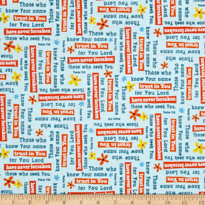 QT Fabrics Trust In You Psalms Light Aqua