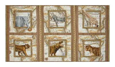 "QT Fabrics Out of Africa Picture 24"" Panel Patches Cocoa"