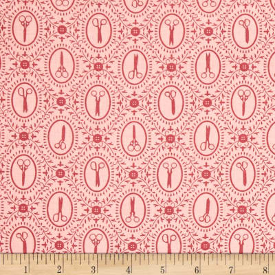 QT Fabrics Cute as a Button Scissors Cameos Pink
