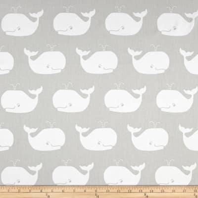 Premier Prints Whale Tales Twill French Grey/White