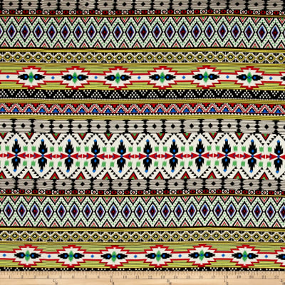 Rayon Challis Aztec Stripes & Diamonds Multi