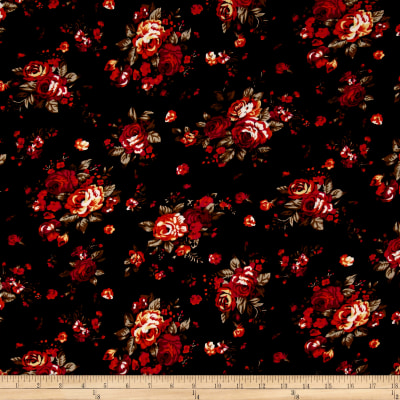 Rayon Challis Floral Red/Black