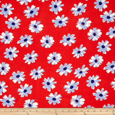 Rayon Challis Sweet Daisy  Red/Blue