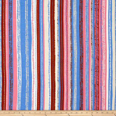 Rayon Challis Dots & Stripes Brown/Pink/Blue