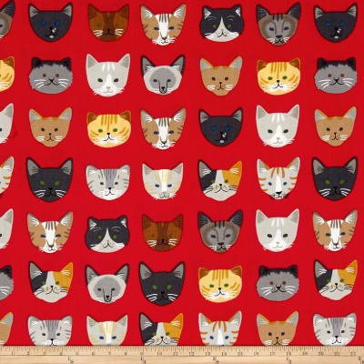 Kaufman Whiskers & Tails Cats In A Row Red