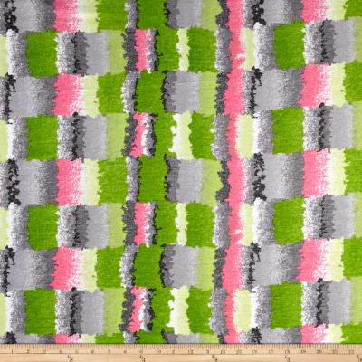 Polyester Jersey Knit Abstract Grey/Pink/Green