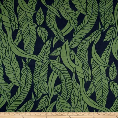 Rayon Jersey Knit Palm Leaves Navy/Green