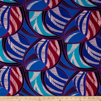 Polyester Jersey Knit Abstract Royal/Black/Purple