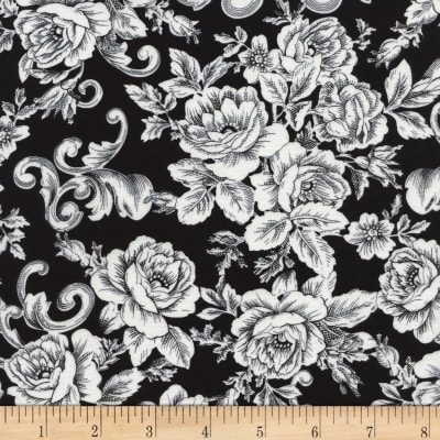 Timeless Treasures Butterflies Tonal Rose Scroll Black