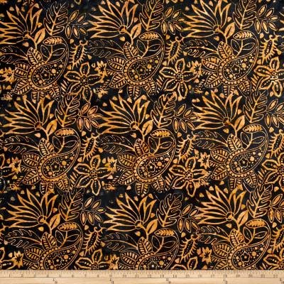 Timeless Treasures Batik Tonga Chai Tropical Floral Black