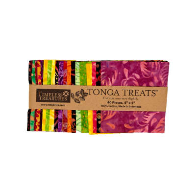 "Timeless Treasures Tonga Batik  5"" Square Packs Neon"