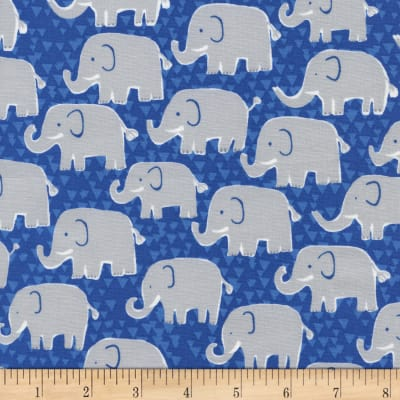 Timeless Treasures Born To Be Wild Elephants Blue