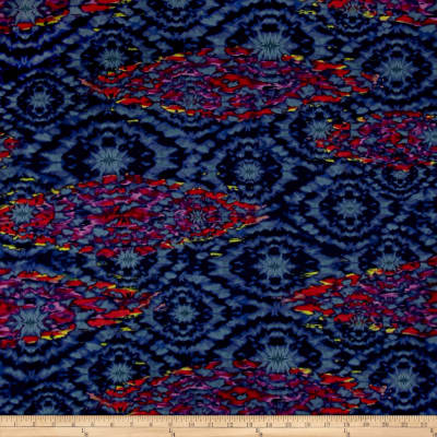 Polyester Prints Peachskin Navy Abstract