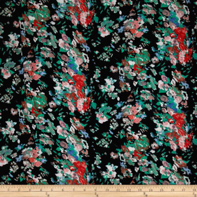 Polyester Prints Peachskin Floral Black/Red