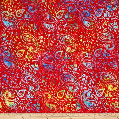 Timeless Treasures Tonga Batik Paisley Red