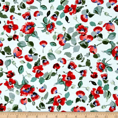 Timeless Treasures Fresh Cut Allover Poppies White
