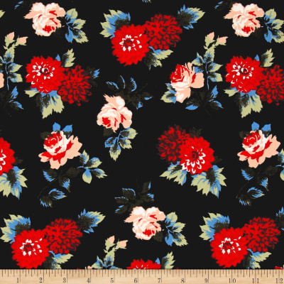 Designer Denim Floral Stretch Cotton Twill Black
