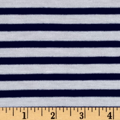 Designer Jersey Knit Stripe Nautical Navy/White