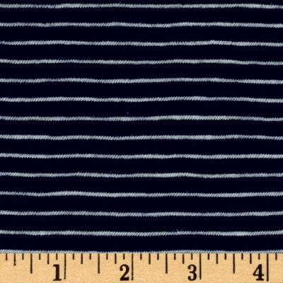 Designer Jersey Knit Stripe Navy/White