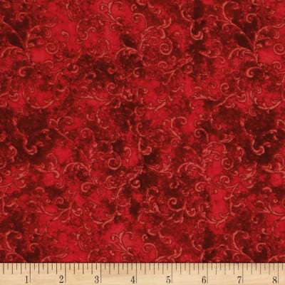 "Essentials 108"" Wide Back Flannel Filigree Red"