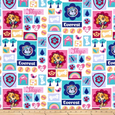 Paw Patrol Sky and Everest Flannel White