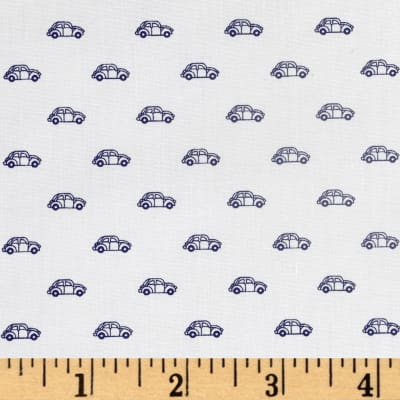 Telio Morocco Blues Stretch Poplin Car Print White/Navy
