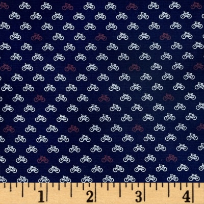 Telio Morocco Blues Stretch Poplin Bike Print Blue