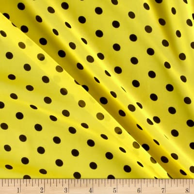 Chiffon Black Polka Dots Yellow