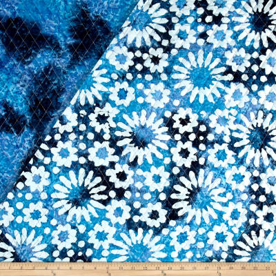 Indian Batik Double Face Quilted Flowers Wht