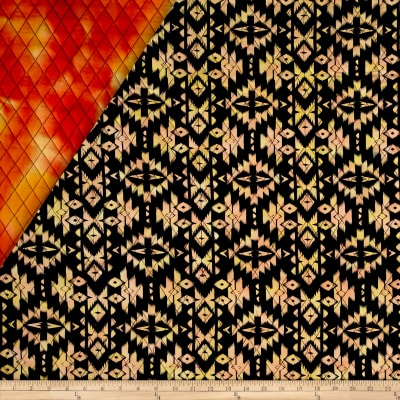 Indian Batik Double Face Quilted Medallion Orange Yellow