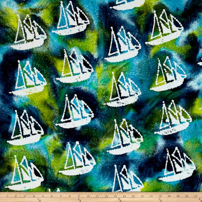 Indian Batik Ocean Grove Sail Boat Aqua/Olive/Blue