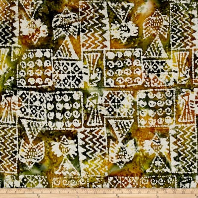 Indian Batik Ocean Grove Island Patch Olive/Gold
