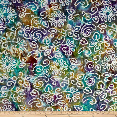Indian Batik Crinkle Cotton Print Floral Scroll Purple/Teal/Natural