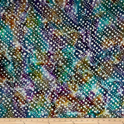 Indian Batik Crinkle Cotton Print Dots Purple/Teal/Natural