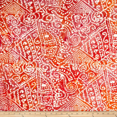 Indian Batik Crinkle Cotton Print Ethnic Patchwork Orange/Pink