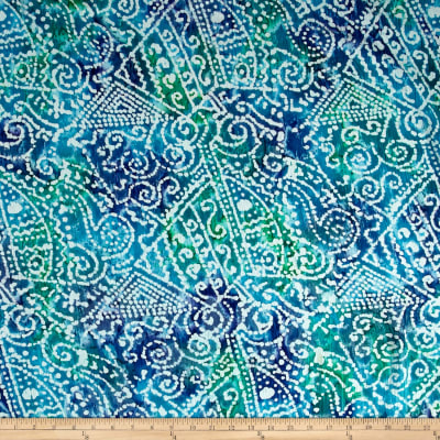 Indian Batik Crinkle Cotton Print Ethnic Patchwork Blue