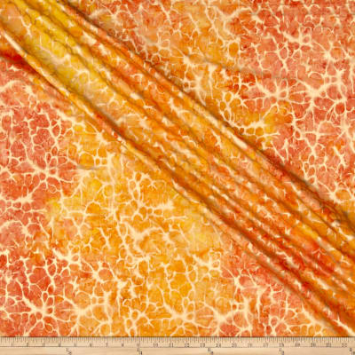 Indian Batik Montego Bay Gold Abstract  Orange /Yellow Metallic