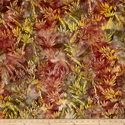 Indian Batik Central Java Bamboo Olive /Yellow/Wine