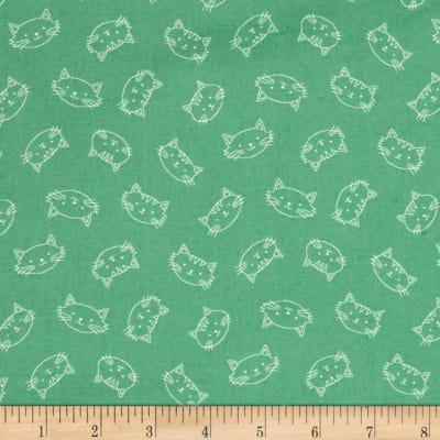 Crafty Cats Heads Green