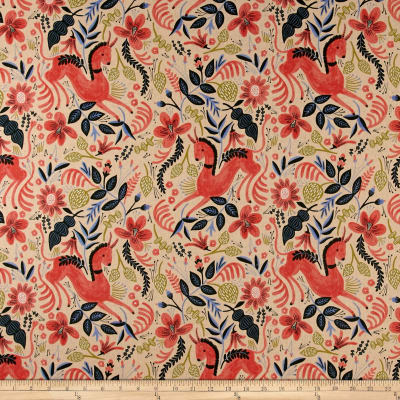 Cotton + Steel Rifle Paper Co. Les Fleurs Canvas Folk Horse Coral