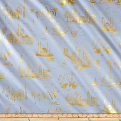 Cotton + Steel Rifle Paper Co. Les Fleurs Lawn Metallic City Toile Pale Blue