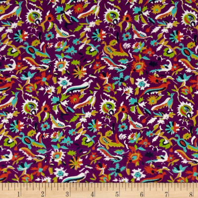 Mary Fons Small Wonders Brazil Digital Print Packed Birds Purple