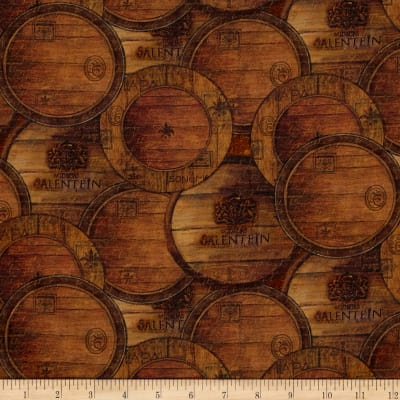 Mia Sonoma County Digital Print Wine Barrels Brown