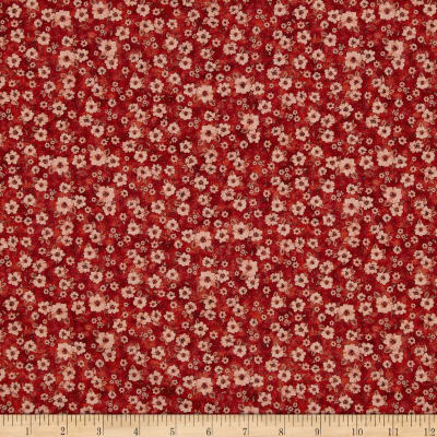 Mia Country Flock Digital Print Floral Texture Red