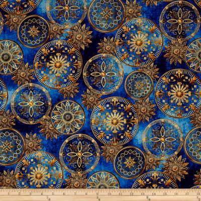 Star Gazing Metallic Celestial Medallions Navy/Gold