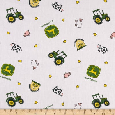 John Deere Nursery Animal Toss White