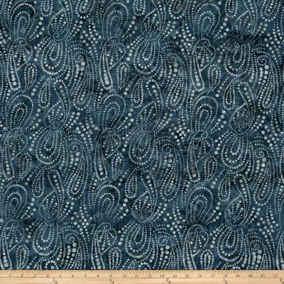Wilmington Batiks Paisley Dots Navy